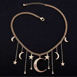 Dripping Stars & Moon Necklace